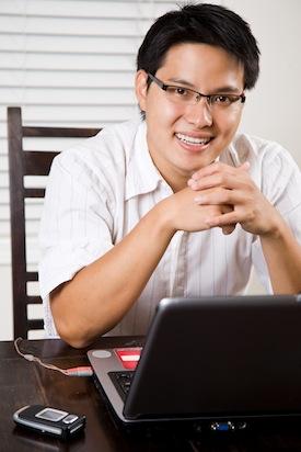 Working asian entrepreneur